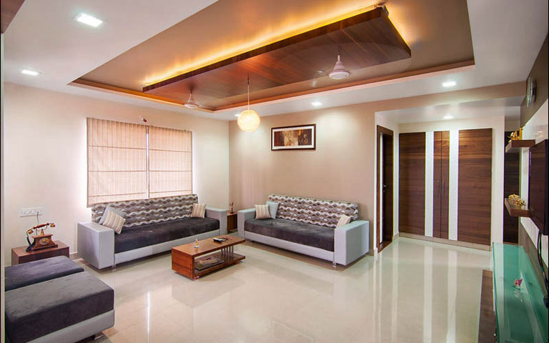 Marble Flooring And Wooden Work On False Ceiling In Living Room by Parthsarthi Living-room Contemporary | Interior Design Photos & Ideas