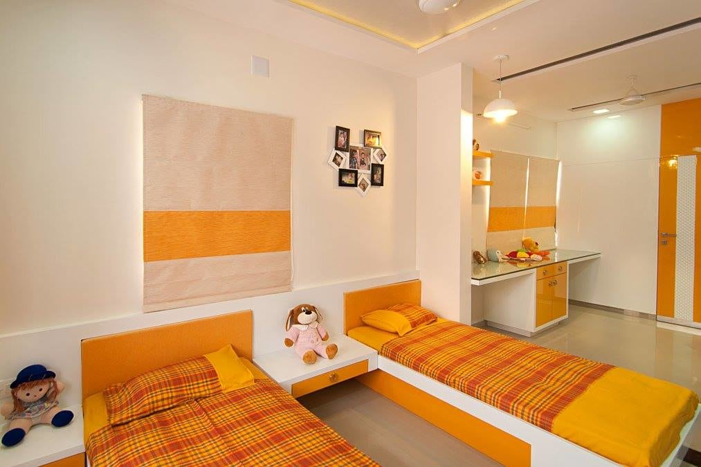 Orange Shade Interiors In Bedroom With Glass Top Study Table by Parthsarthi Bedroom Contemporary | Interior Design Photos & Ideas