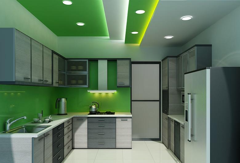 standard modular kitchen with green texturesspacesetterz