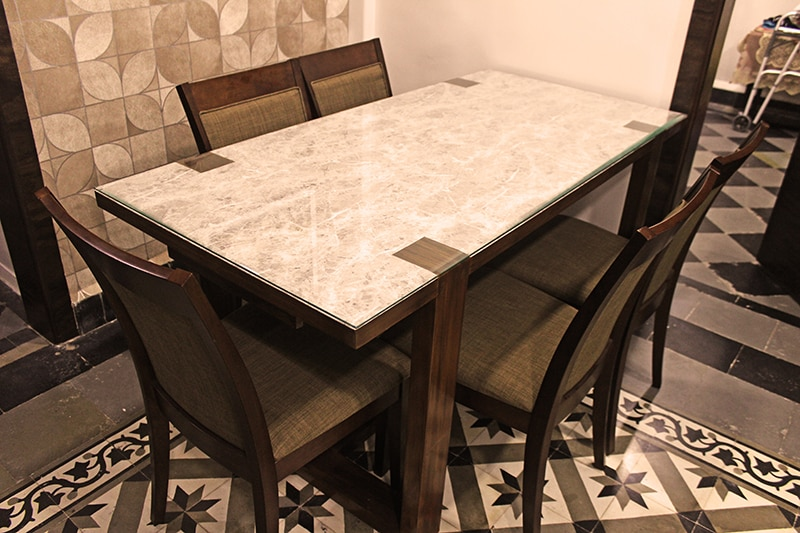 """Standard Dining Table with Marble Textures by """"Home Craft"""" Interior Designer & 3d Visualiser  Dining-room Modern 