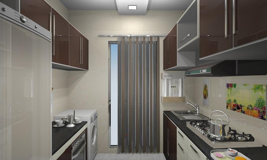 Beige Modern Modular Kitchen by Vijay Modular-kitchen Contemporary | Interior Design Photos & Ideas