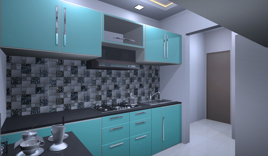 Blue Modular Kitchen Cabinets by Vijay Modern | Interior Design Photos & Ideas