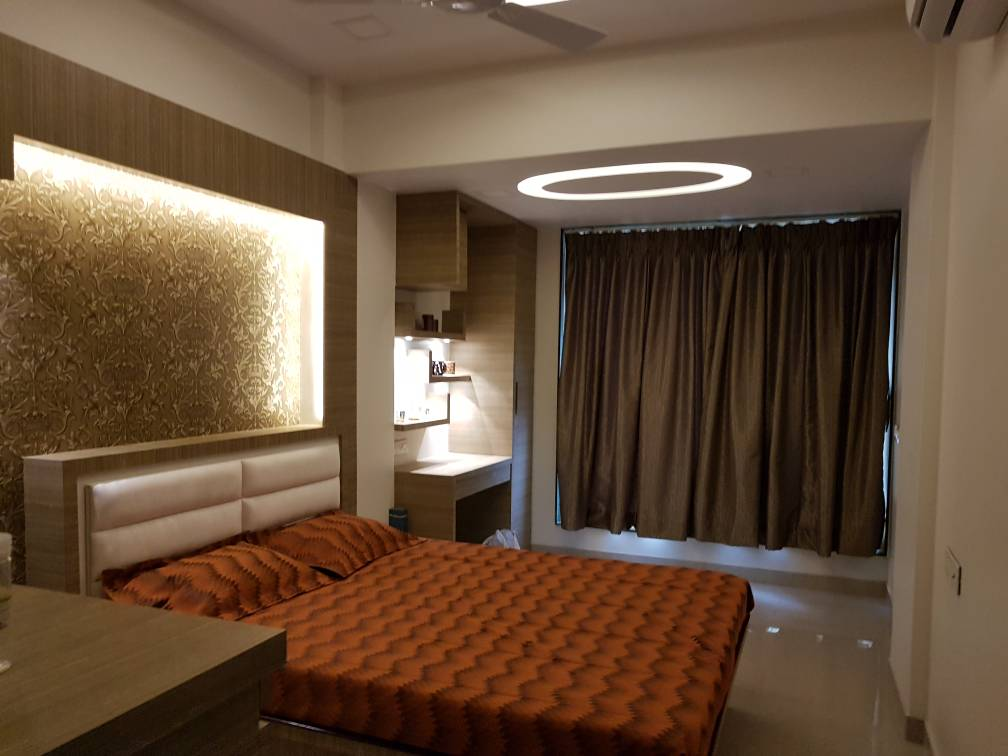 Orange And Golden Shades In Contemporary Bright Bedroom by Vijay Bedroom Contemporary | Interior Design Photos & Ideas