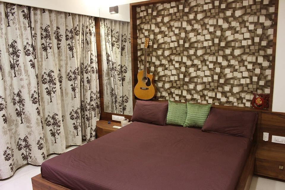 Blocked Wall Art In Vintage Themed Bedroom by Vijay Bedroom Contemporary | Interior Design Photos & Ideas
