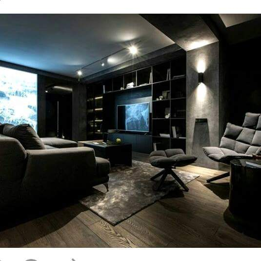 A black themed living room! by Makan interiors & decorators Living-room | Interior Design Photos & Ideas