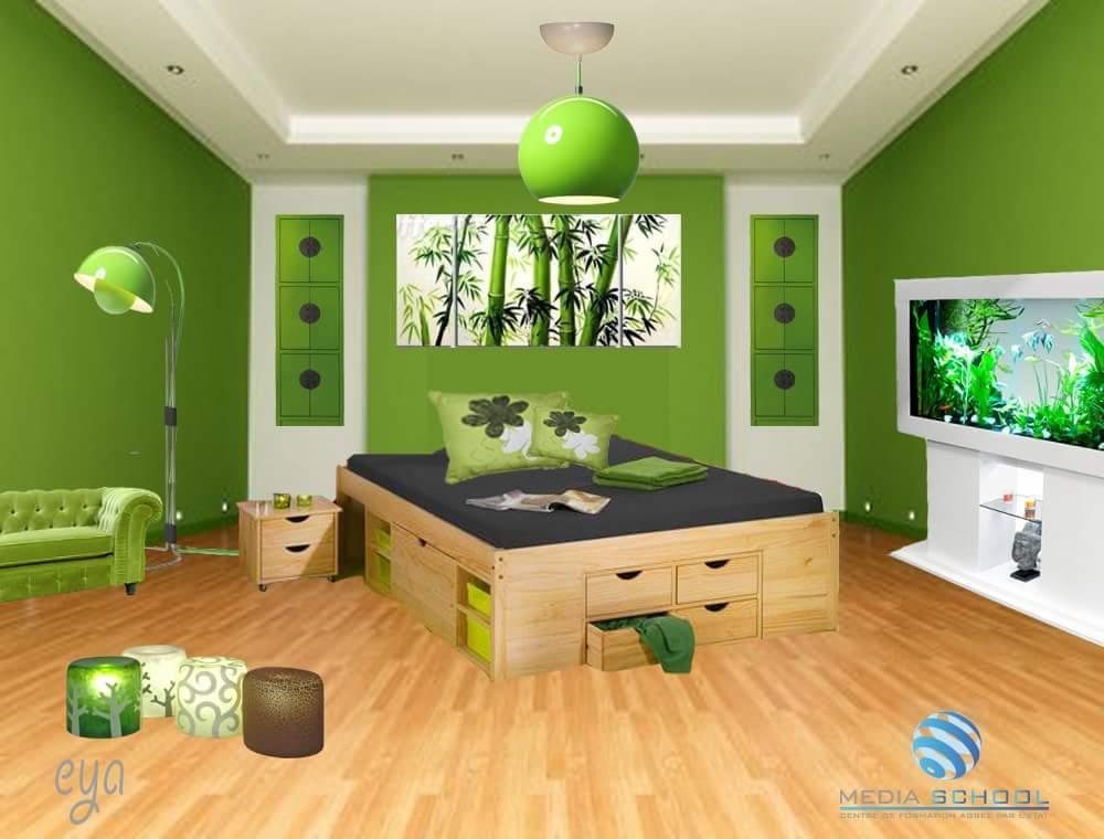 A green coloured bedroom! by Makan interiors & decorators Bedroom | Interior Design Photos & Ideas