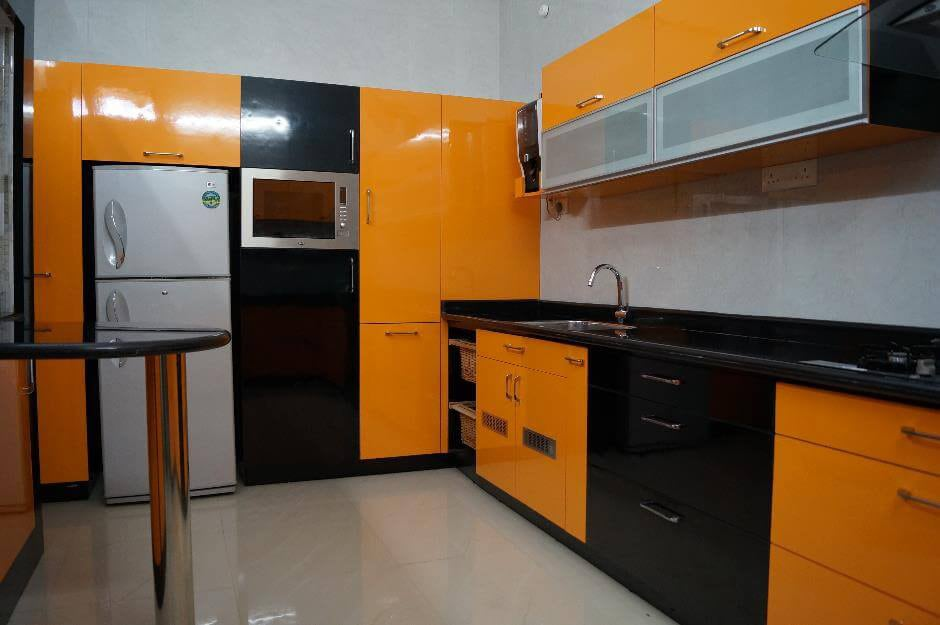 Orange modular Kitchen by Urban Geometry  Modular-kitchen Contemporary | Interior Design Photos & Ideas