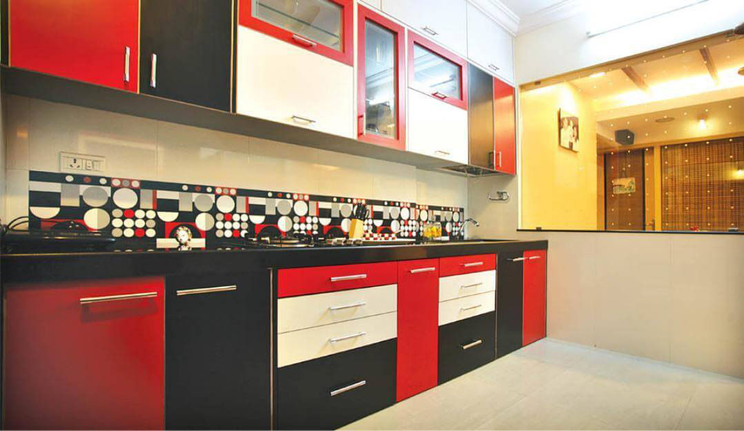 Red And White Modular Kitchen by Urban Geometry  Modular-kitchen Modern | Interior Design Photos & Ideas