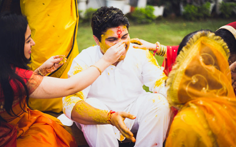 Groom During Haldi by Kritika Kishore Photography  Wedding-photography | Weddings Photos & Ideas