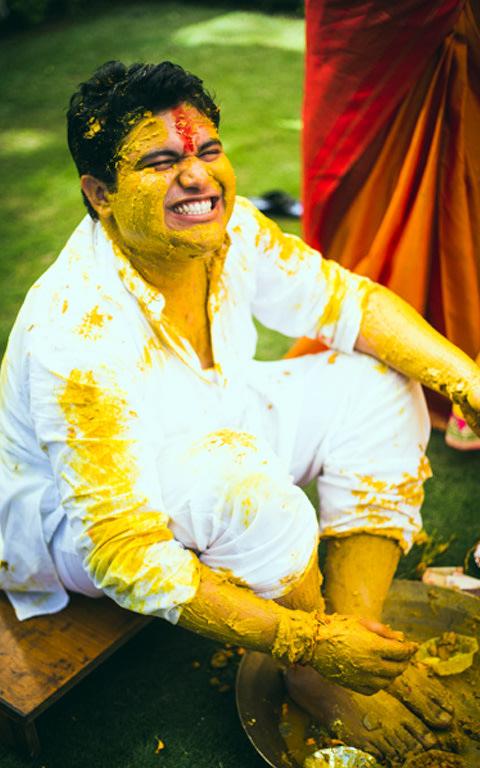 Groom During Haldi by Kritika Kishore Photography  Wedding-photography | Weddings Photos & Ideas