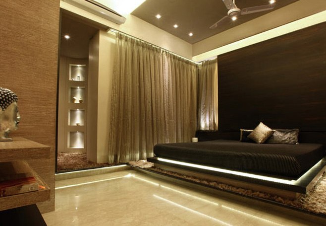 Low Rise Mocha Bed With Wooden Head Cover by Prashant Koli Bedroom Contemporary | Interior Design Photos & Ideas