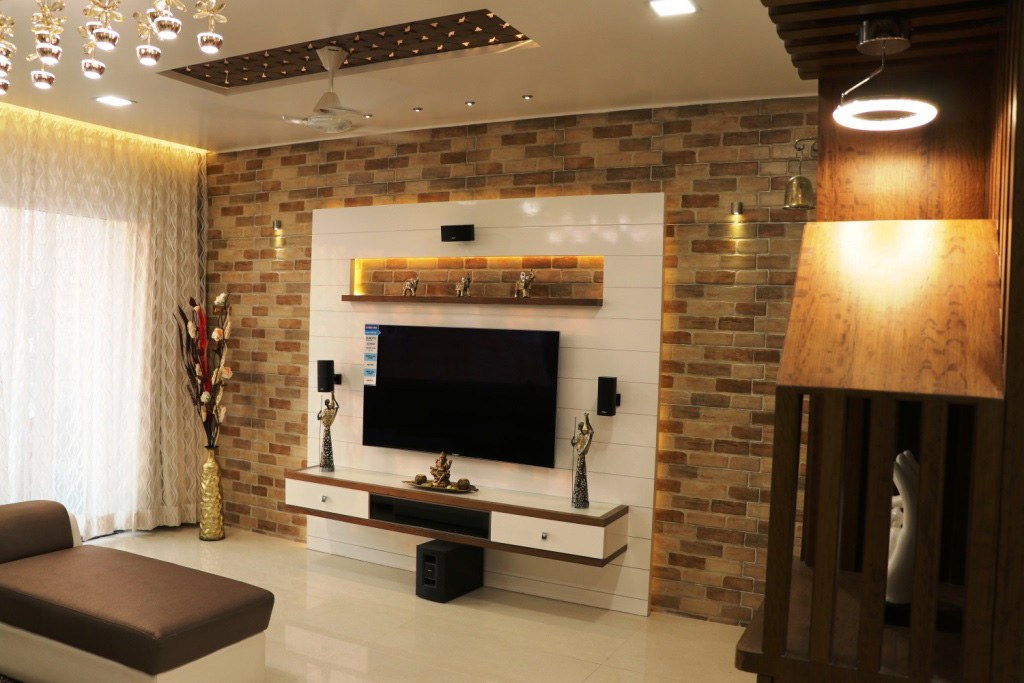 White Themed Wooden Television Cabinet by Rajat Ajmera Living-room Contemporary | Interior Design Photos & Ideas
