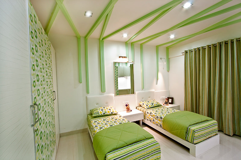 Olive Green Themed Bedroom With Single Bed by Rajat Ajmera Bedroom Contemporary | Interior Design Photos & Ideas