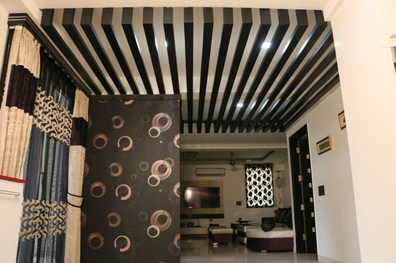 Artistic False Ceiling In Living Room by Abhinav Gupta Living-room Contemporary | Interior Design Photos & Ideas