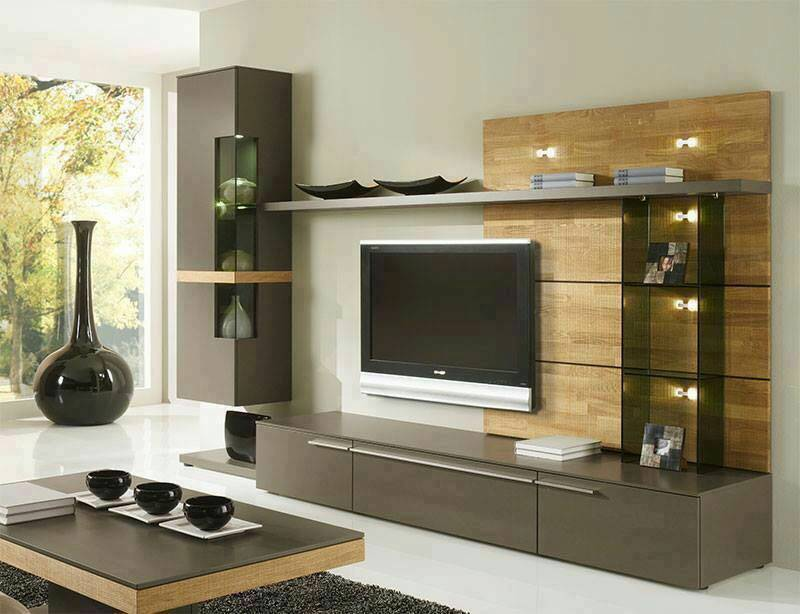 Living Room With Modern Wooden Display Unit by Abhinav Gupta Living-room Contemporary | Interior Design Photos & Ideas