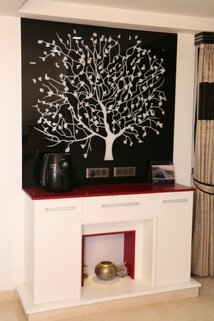 Wooden Display With Leafy Art by Abhinav Gupta Living-room Contemporary | Interior Design Photos & Ideas