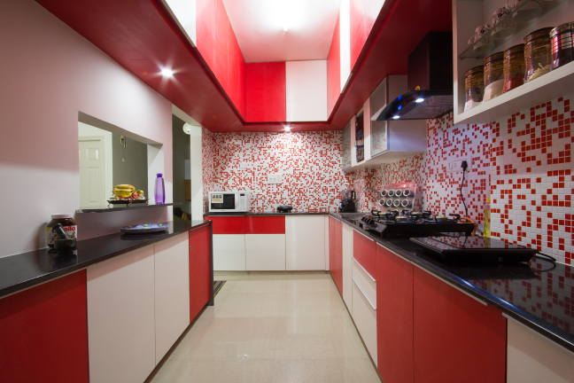 U Shaped red and white themed kitchen by Studio de ismation  Modular-kitchen Traditional Contemporary | Interior Design Photos & Ideas