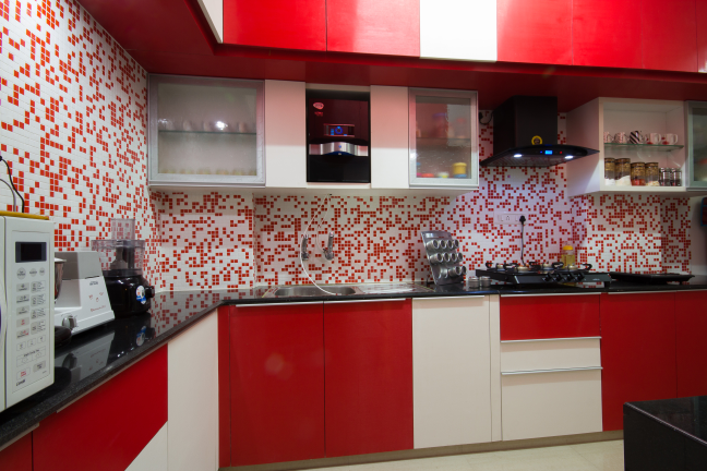 Red and White themed modular kitchen by Studio de ismation  Modular-kitchen Contemporary | Interior Design Photos & Ideas