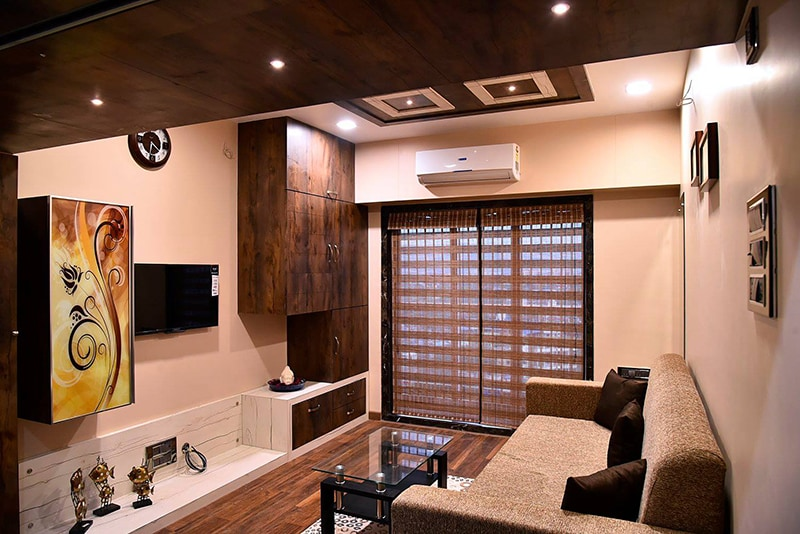 Living Room With Wooden Flooring by Ar. Sachin Vasant Salvi  Living-room Contemporary | Interior Design Photos & Ideas