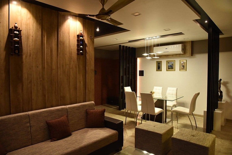 Dining Room With Wooden Work by Ar. Sachin Vasant Salvi  Dining-room Contemporary | Interior Design Photos & Ideas
