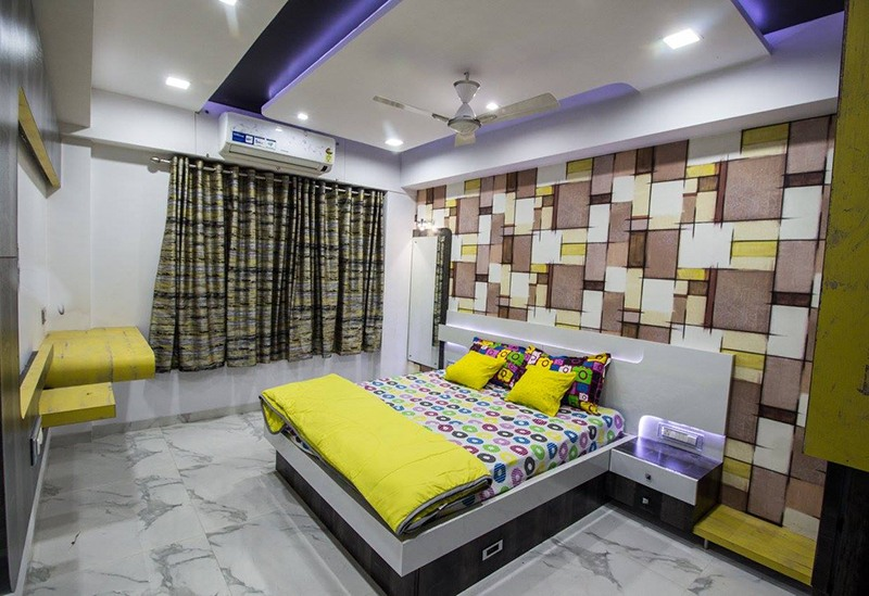 Yellow And Brown Themed Spacious Bedroom by Ar. Sachin Vasant Salvi  Bedroom Contemporary | Interior Design Photos & Ideas