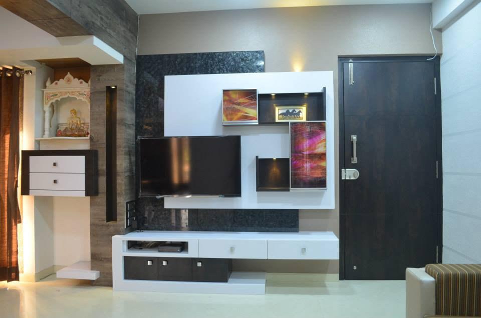 Living Room With Wooden Display Unit by Ar. Sachin Vasant Salvi  Living-room Contemporary   Interior Design Photos & Ideas
