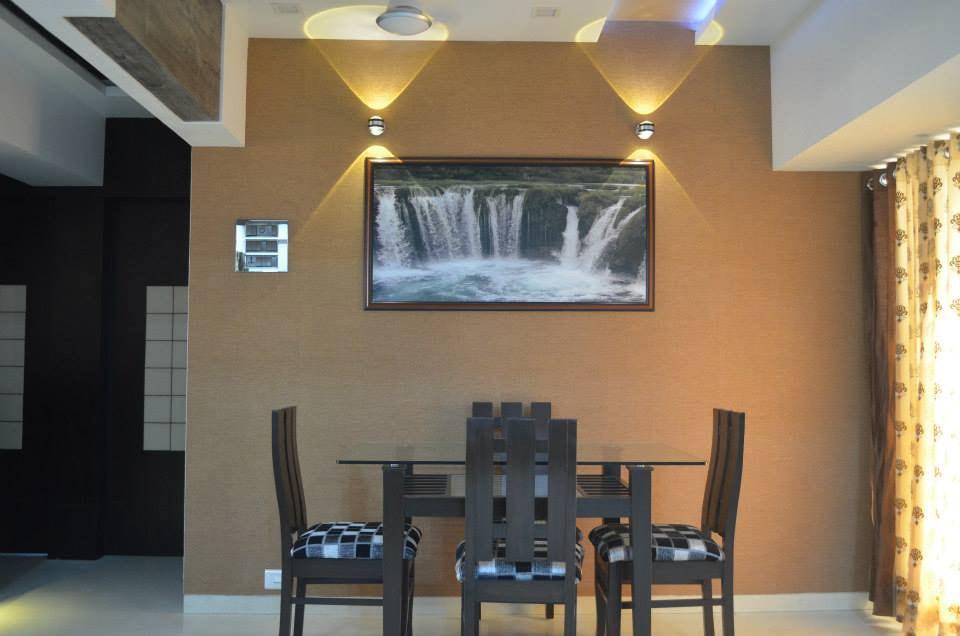 Dining Room With Amazing Wall Painting by Ar. Sachin Vasant Salvi  Dining-room Contemporary | Interior Design Photos & Ideas