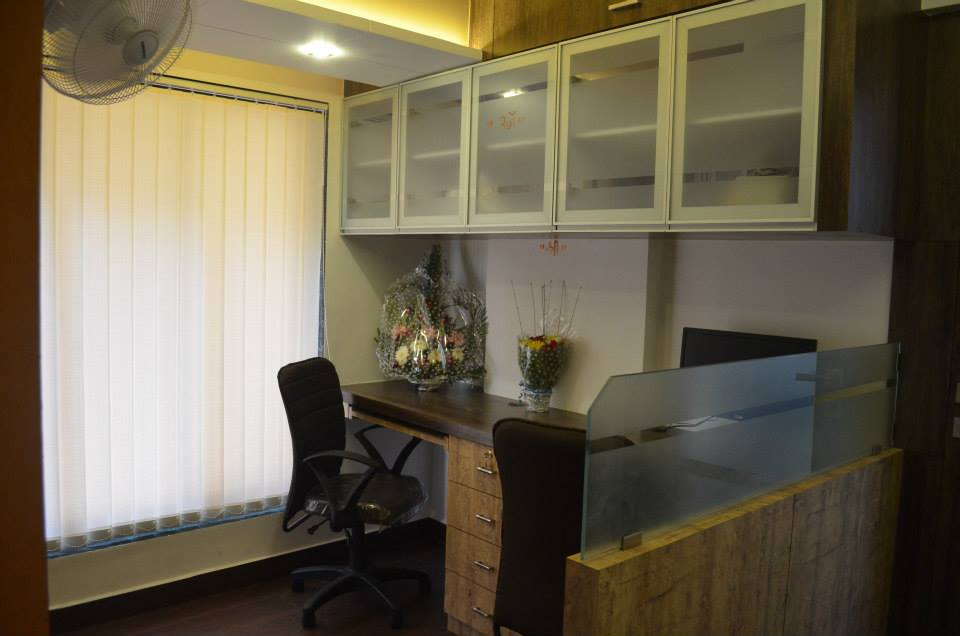 Office With Glass And Wooden Cabinets by Ar. Sachin Vasant Salvi  Contemporary | Interior Design Photos & Ideas
