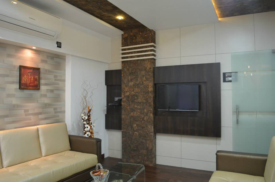 Living Room With Wooden Flooring by Ar. Sachin Vasant Salvi  Living-room Modern | Interior Design Photos & Ideas