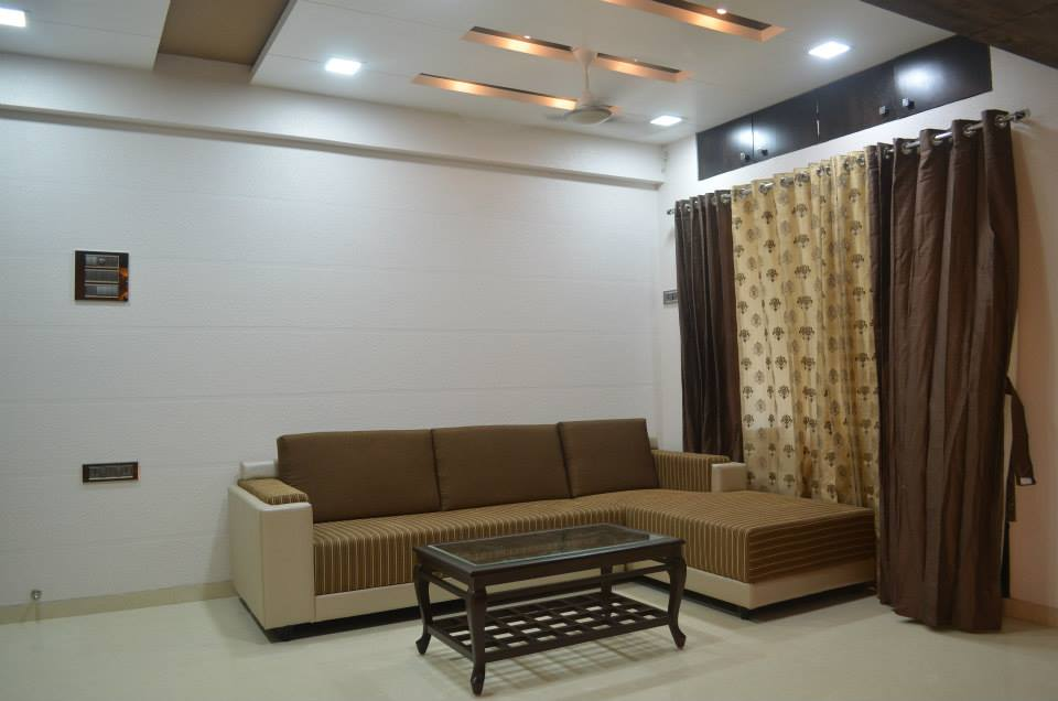 Living Room With L-Shaped Sofa by Ar. Sachin Vasant Salvi  Living-room Minimalistic | Interior Design Photos & Ideas