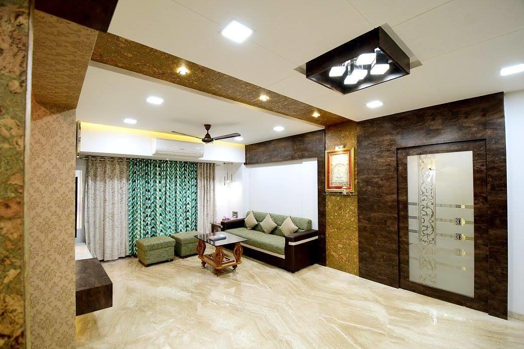 Living Room With Marble Flooring by Ar. Sachin Vasant Salvi  Living-room Contemporary | Interior Design Photos & Ideas