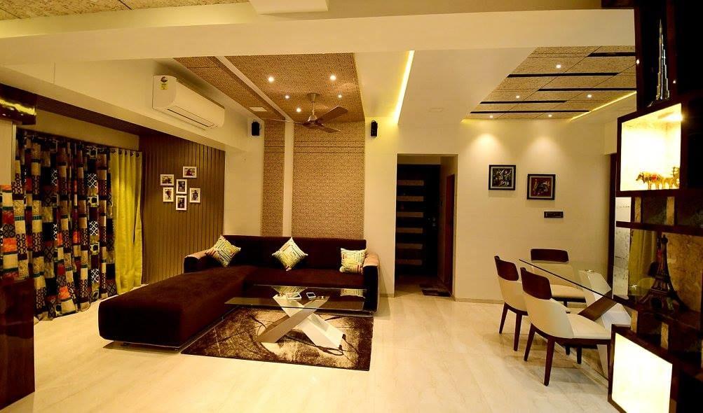 Living Room With L-Shaped Sofa Set by Ar. Sachin Vasant Salvi  Living-room Contemporary | Interior Design Photos & Ideas