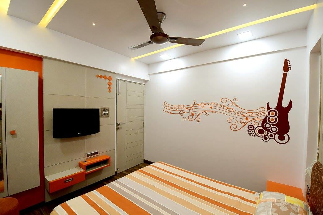 Bedroom With Wall Art by Ar. Sachin Vasant Salvi  Bedroom Contemporary | Interior Design Photos & Ideas