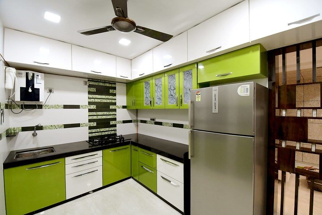 Olive Green Themed Compound kitchen by Ar. Sachin Vasant Salvi  Modular-kitchen Modern | Interior Design Photos & Ideas