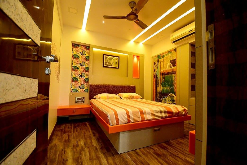 Multi Coloured Bedroom With Wooden Flooring by Ar. Sachin Vasant Salvi  Bedroom Modern | Interior Design Photos & Ideas