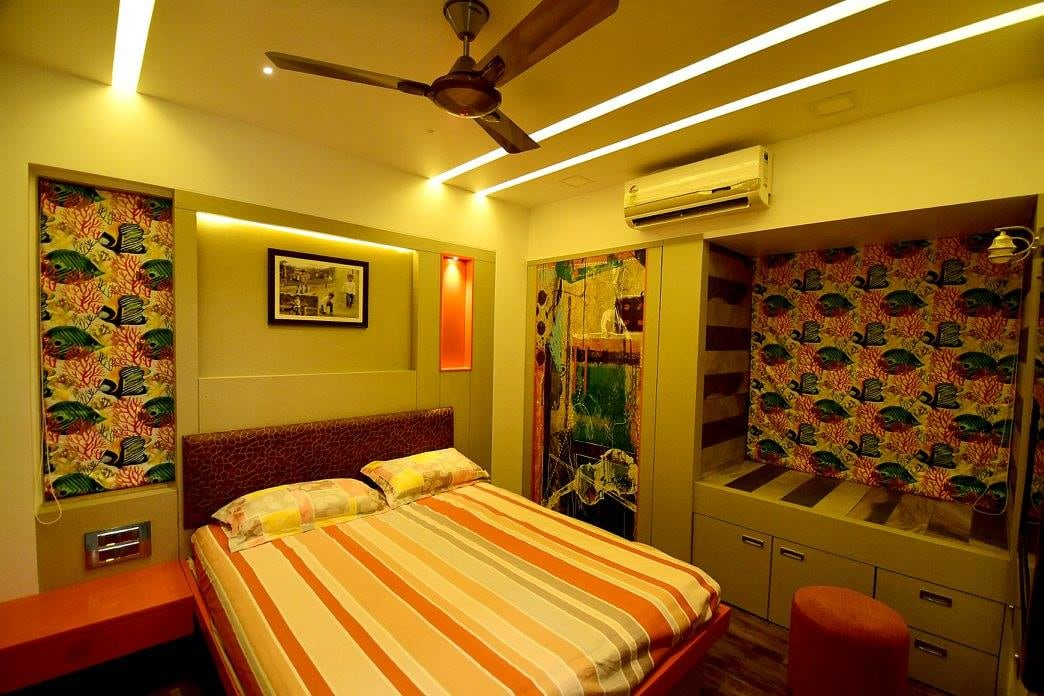 Brightly Lit Bedroom With Wall Art by Ar. Sachin Vasant Salvi  Bedroom Contemporary | Interior Design Photos & Ideas