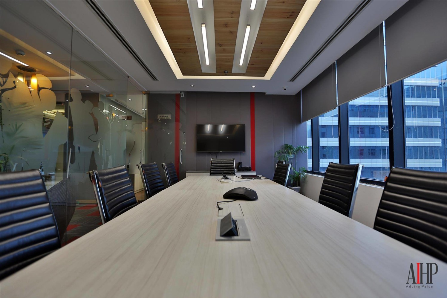 Conference Room with Pine Oak Wooden Table And Black Chairs by Arjun Sobti  Modern | Interior Design Photos & Ideas