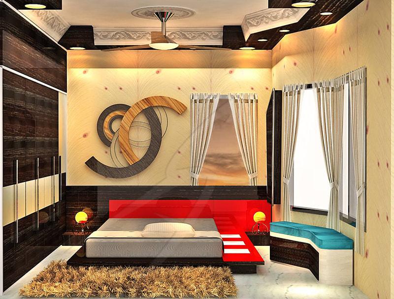 A red coloured bedroom! by Pegasus Interiors  Bedroom | Interior Design Photos & Ideas