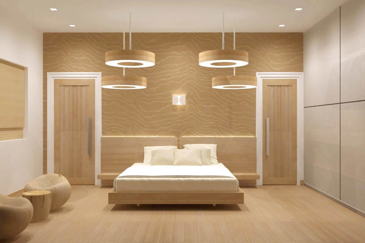 Modern bedroom with wooden flooring by De Panache Interior Architecture  Bedroom Modern | Interior Design Photos & Ideas