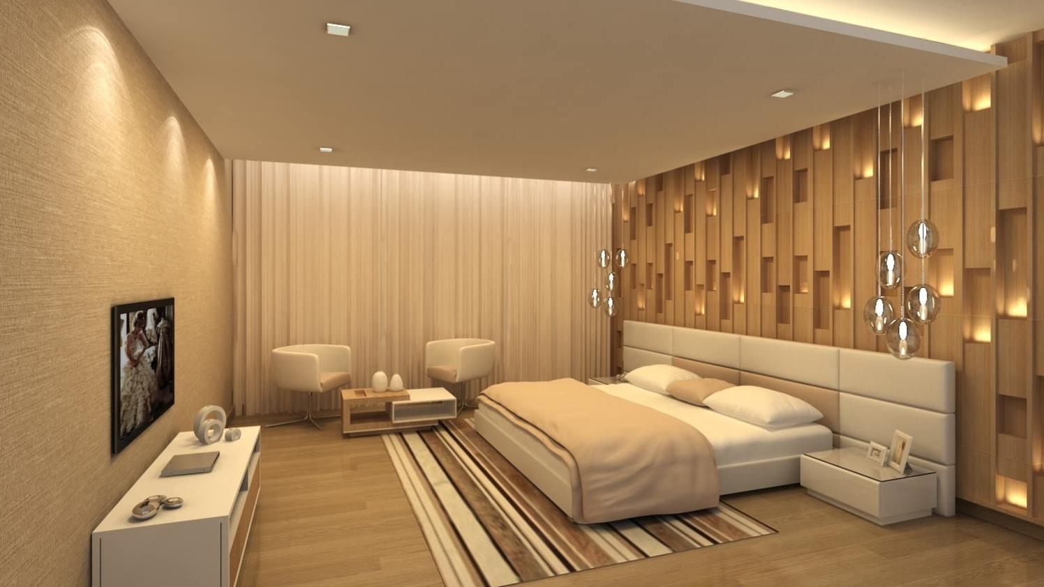 Bedroom with marble flooring by De Panache Interior Architecture  Bedroom Contemporary | Interior Design Photos & Ideas