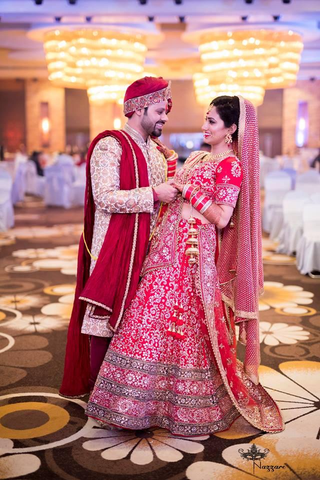 Bride And Groom Wearing Stunning Wedding Outfits by Rishabh Asthana  Wedding-photography Wedding-dresses | Weddings Photos & Ideas