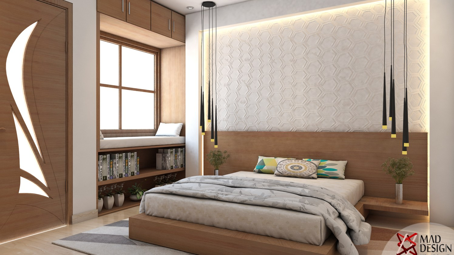 Bedroom with wall decor window and false ceiling by MAD design  Bedroom Modern | Interior Design Photos & Ideas