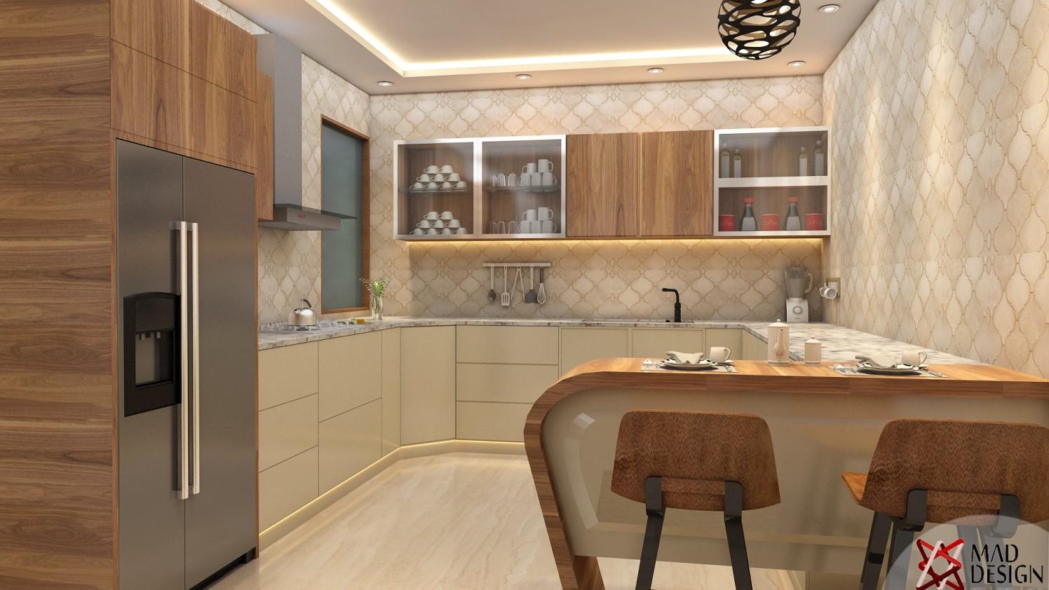 Open Peninsular Kitchen by Mad Design Modular-kitchen Modern | Interior Design Photos & Ideas