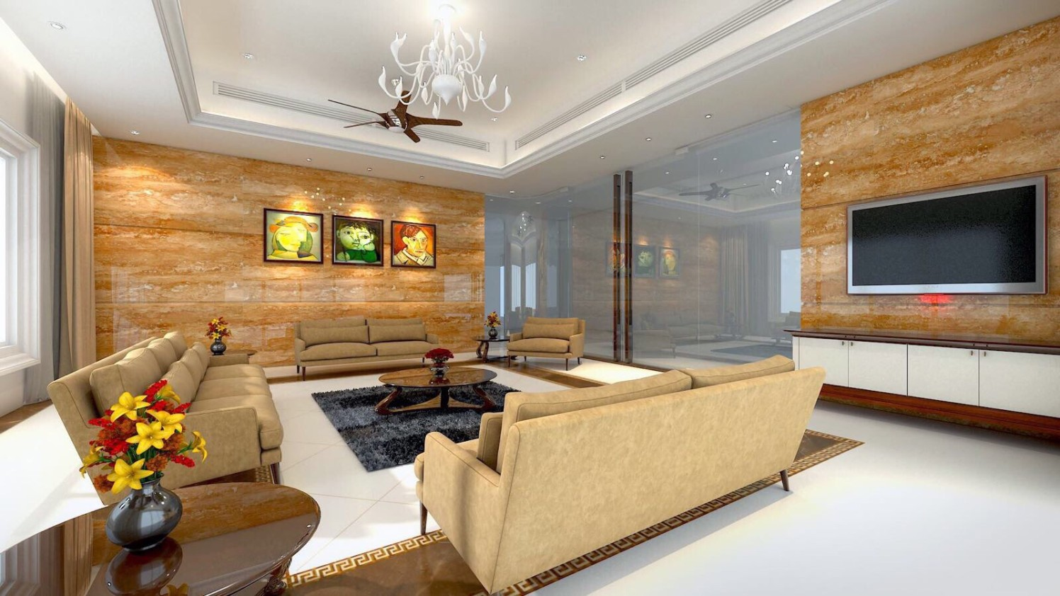 Wheat Shaded sofa Set With White Chandelier by Anshuma Vaidya Bora Living-room Modern | Interior Design Photos & Ideas