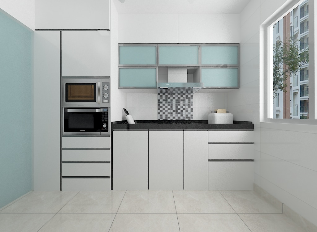 Minimalistic Parallel Kitchen With Tile Flooring by Ankit Chhadva  Modular-kitchen Minimalistic | Interior Design Photos & Ideas