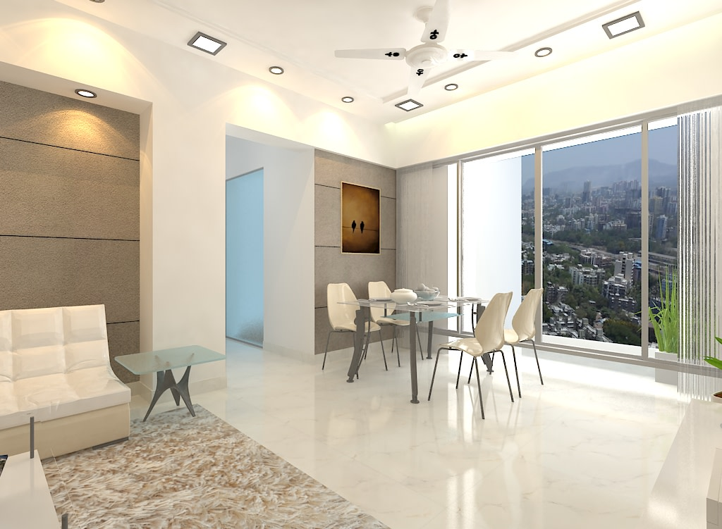 Cream Shaded Dining Area With White Mid Century Modern Chairs by Ankit Chhadva  Dining-room Modern | Interior Design Photos & Ideas