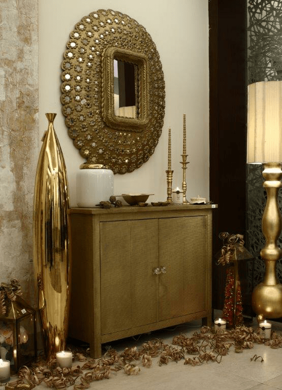 Studded Round Mirror by INV Home Indoor-spaces Traditional | Interior Design Photos & Ideas