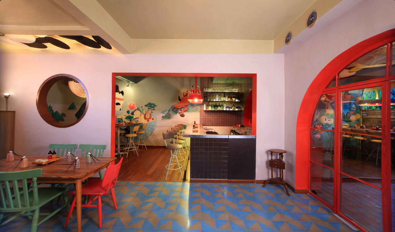 Eclectic Restaurant With Wooden Furniture by Jatin Hukkeri Eclectic | Interior Design Photos & Ideas