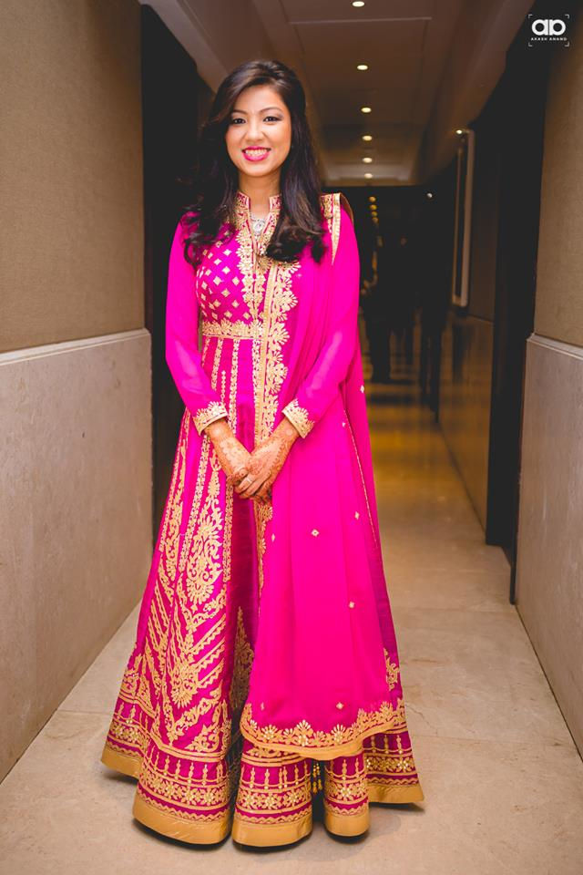 A beautiful  bride wearing pink anarkali suit. by Akash Anand Photography  Wedding-photography Wedding-dresses | Weddings Photos & Ideas