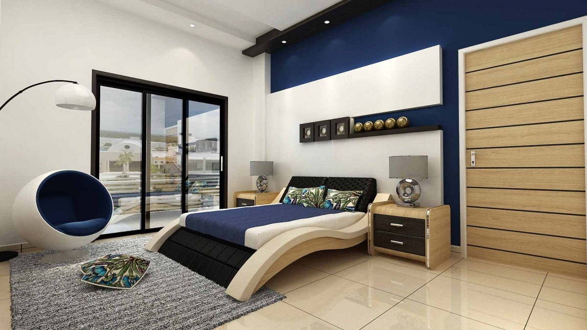 Curve Bed With Wooden Furnishing In Bedroom by Hemant Sahni Bedroom Modern   Interior Design Photos & Ideas